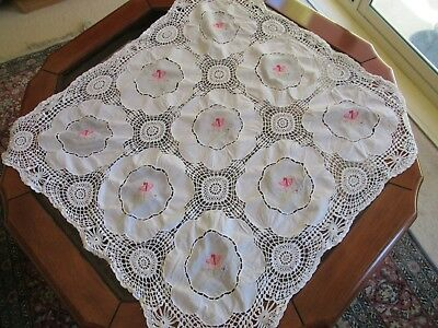 Vintage Handmade Crochet &Embroidered Cotton SUPPER CLOTH Square for small table