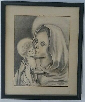 Vintage Baby Jesus Blessed MARY Mother Art 16 x 19 SIgned PENCIL DRAWING