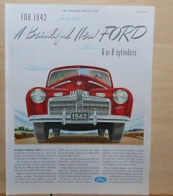 1941 magazine ad for Ford - red1942 model, Unusual new car 6 or 8 cylinders