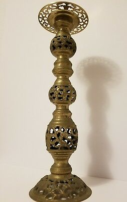 "Vintage Boho Ornate Pierced Brass 17"" Tall Candle Holder"