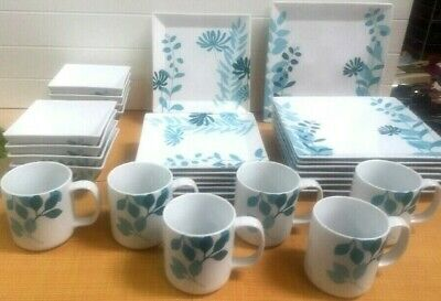 THE CELLAR Whiteware Blue & White Floral China 29 Piece Set SQUARE ...