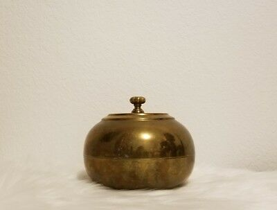 "Vintage Asian Brass Plated 23"" Round Lidded Bowl"