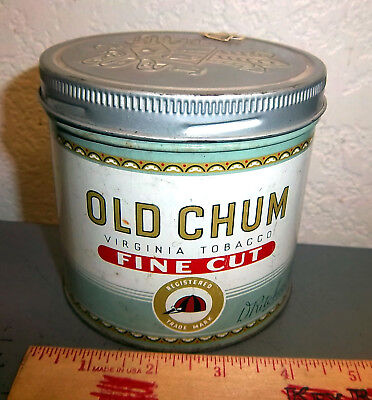 Old Chum Virginia tobacco tin, great colors & graphics FINE CUT, Montreal Canada
