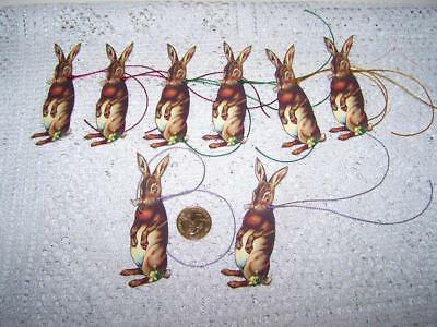 Easter~Vintage~Bunny~Hand Cut~Linen Cardstock~Gift~Hang~Tags