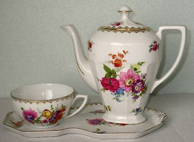Antique Art Deco Victoria Czechoslovakia Rare Fancy Hand Painted China Tea Set
