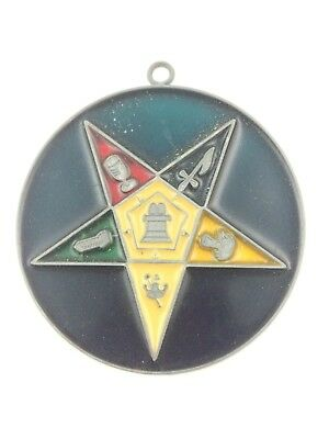 """Vintage OES Order of the Eastern Star Stained Glass Sun Catcher Suncatcher 4"""""""