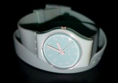 Swatch Girls Soft Seafoam Blue Double Wrap Around Plastic/Silicon Strap Watch