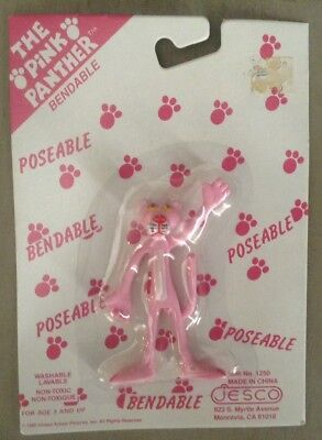 "VINTAGE 1989 Pink Panther Bendable Figure 3.5"" - New In Package - JESCO"