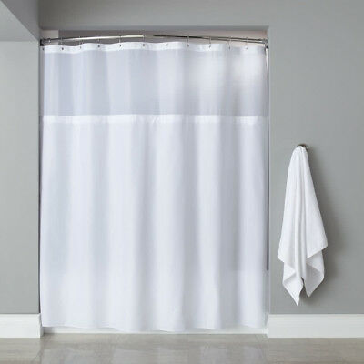 KSC White Hotel Sheer Top Shower Curtain Waffle Weave Check Fabric 72X72