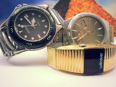 Lot Of 3 Vintage Mens Wittnauer Polar Orient-Automatic Edison Watches Run/repair