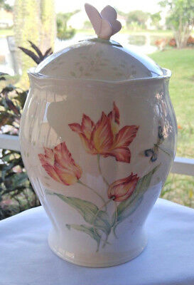 LENOX BUTTERFLY MEADOW Lg COVERED CANISTER JAR w/DRAGONFLY, BEES, LADY BUGS