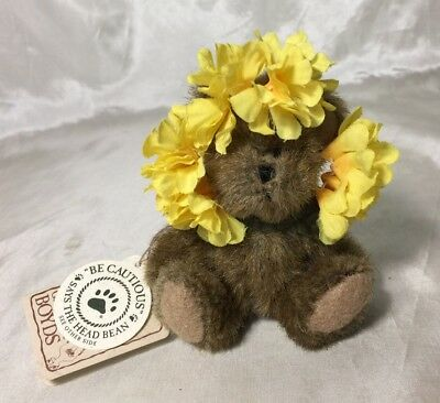 """RETIRED Adorable Boyds """"Marigold"""" Brown Plush Bear Yellow Flowers Ornament NEW"""