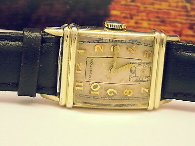 Antique Mens Art-Deco S&w Hamilton 980-Cal 14Kt Goldfilled Rare Error Watch Runs