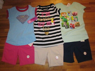Lot of summer clothes 3 outfits GIRL 10 10-12 Large 3x t-shirt 3x shorts NEW