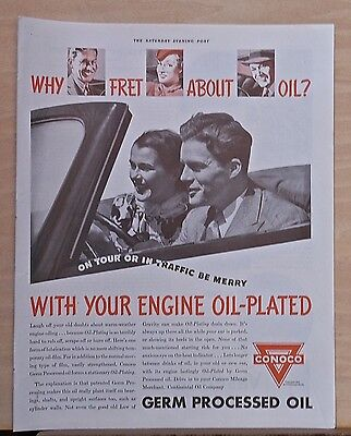 Vintage 1937 magazine ad for Conoco - Don't fret about Oil, be Merry in traffic