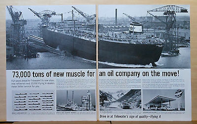 1961 two page magazine ad for Tidewater, Flying A gas - Supertanker, refineries