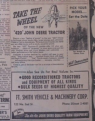 "1958 newspaper ad for John Deere -  Model ""420"" tractor, Take The Wheel"