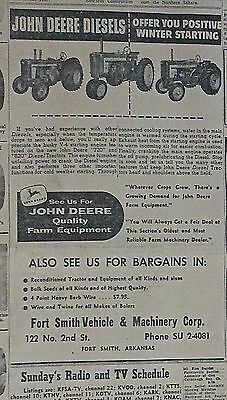 1958 newspaper ad for John Deere -  Diesels offer you positive winter starting