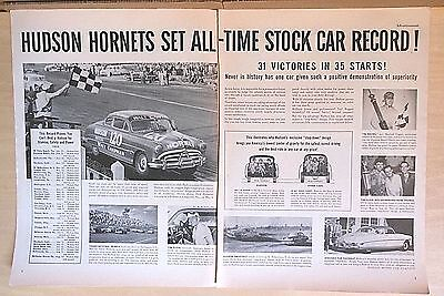 1952 two page magazine ad for Hudson - Hornets set Stock Car Records, 31 wins