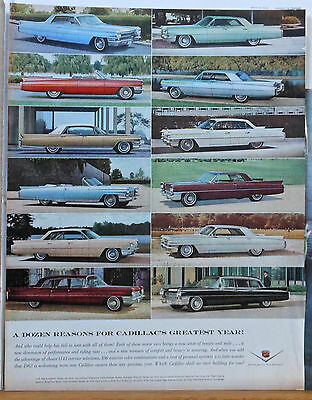 Vintage 1963 magazine ad for Cadillac - Photos of twelve colorful models