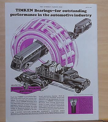 1937 magazine ad for Timken Bearings - outstanding auto performance, colorful