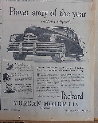 1948 newspaper ad for Packard - Power Story of The Year! silent, super smooth