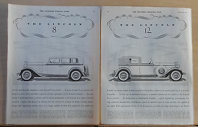 1932 two page magazine ad for Lincoln - V-8 & V-12, high principles of Lincoln