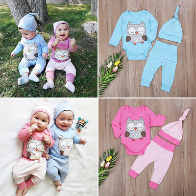 Cute Baby Boy Girl Twins Matching Tops Romper Pants Hat Outfits 3Pcs Clothes US