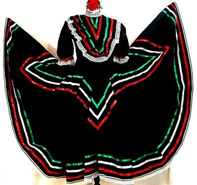 Jalisco Mexico Dance Dress Black 5 Mayo Adelita Double wide Folkloric All Sizes