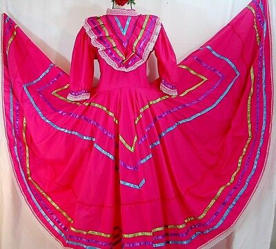 5 de mayo Authentic Mexican Jalisco Dance Dress Folklorico Rodeo Fuchsia adult