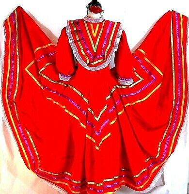 Jalisco Mexico Red Dance Dress 5 D Mayo Adelita Double wide Folkloric All sizes