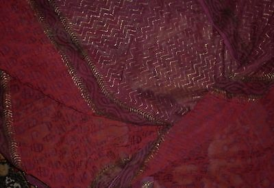 Vintage Exotic Indian Sheer Scarlet Short Sari Excellent Condition