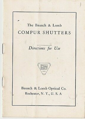 Bausch & Lomb Compur Shutters Directions for Use ~ Instruction Manual Booklet