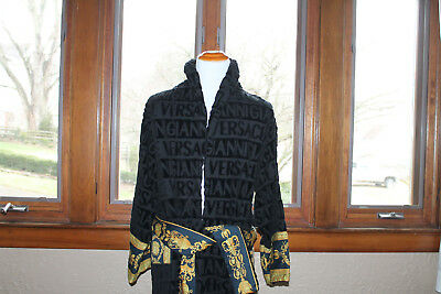 Versace Unisex Bathrobe - Black/Gold - ONE SIZE 100% Authentic made in Italy