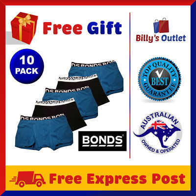 10 Pack Bonds Mens Underwear Fit Trunks Guyfront Boxer Shorts Undies Black Blue