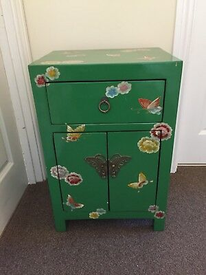 Vintage Bedside Table Small Chinese Cabinet Furniture Lacquer Oriental Asian