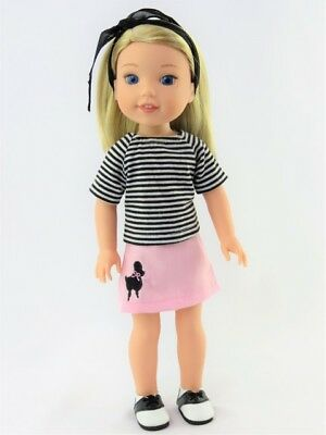 """Doll Clothes Poodle Skirt Shoes Fits 14.5"""" American Girl Wellie Wishers 4 PC Set"""