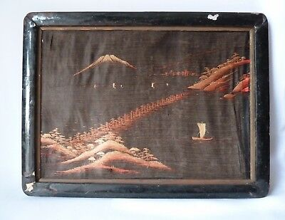 5Antique Japanese Silk Embroidery Pictures, in Very Poor Condition, Repairs