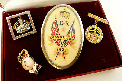 Vintage Jewellery Mixed Job Lot Of Crown Royalty Brooches Pins