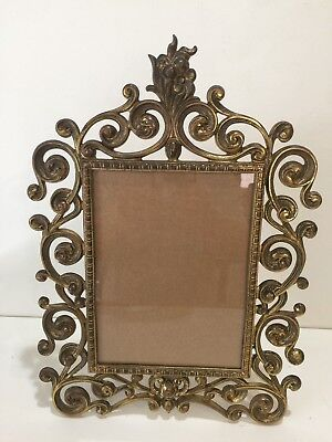 Vintage Large Victorian Brass Easel Selfstanding Table Picture Frame, #2245