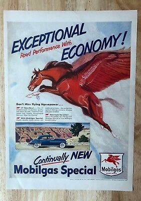 Original Print Ad 1950 Mobilgas Pegasus Stretch Your Mileage Flying Horse Art Advertising-print Advertising