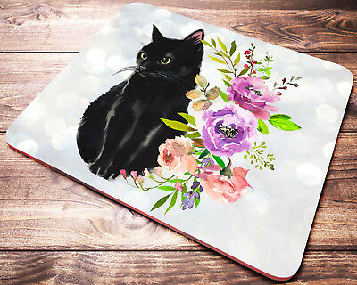 Black CAT Floral Mouse Pad Kitten Mousepad Cat Lover Gift Computer PC Mouse Mat