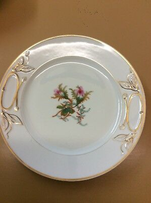 "1880's HAVILAND Limoges Cake Plate MOSS ROSE Scotch Thistle 9 5/8"" Gold Trim"