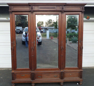 Large Antique French Walnut 3 Door Mirrored Armoire Wardrobe Cabinet Late  1800u0027s