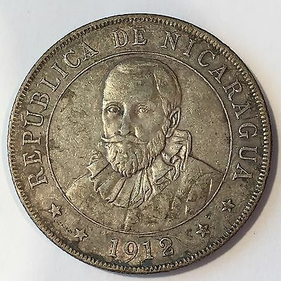 1912  Nicaragua Cordoba Silver Coin - Full Detail - High Quality Scans #D016
