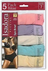 Isadora Women's Cotton Bikini Briefs 5-Pack Size 5-7 Case Pack 48 (2133521)