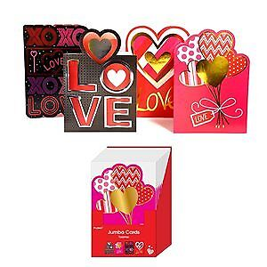 Four Designs of Die-Cut Valentine Jumbo Greeting Cards in a Floor Display with E