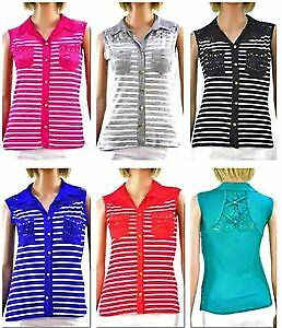 Women's Sleeveless Blouses with Front Pockets - Striped Prints- - Sizes S-XL Cas