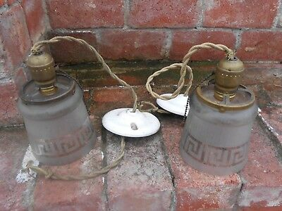 Pair of old Art Deco small hanging Lighting fixtures white/clear Glass Globes