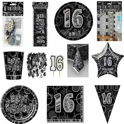 Glitz Black/Silver 16th Birthday Party Tableware Decoration Plates Banners Age16